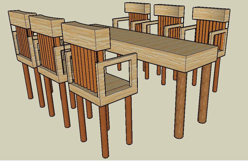 sketchup yemek masası